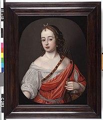 Portret van een vrouw als Diana, mogelijk Mary Killegrew (geb.1627). Echtgenote van Frederik van Nassau-Zuylensteyn