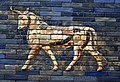 One of the aurochs of the the Ishtar Gate of Babylon, colored glazed and molded bricks, 6th century BCE, Pergamon Museum.jpg