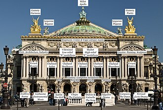 Palais Garnier - Facade of the Palais Garnier with labels indicating the locations of various sculptures