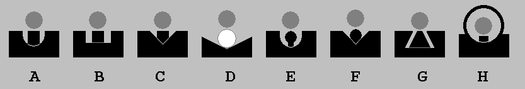 A selection of open sights, and one aperture sight suitable for use with long eye relief:  A) U-notch and post, B) Patridge, C) V-notch and post, D) express, E) U-notch and bead, F) V-notch and bead, G) trapezoid, H) ghost ring.  The gray dot represents the target.