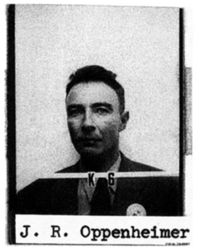 "Mug shot with ""J. R. Oppenheimer"" typewritten below."