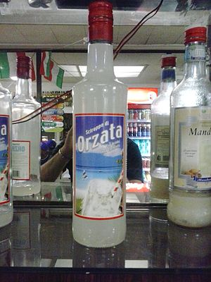 Orgeat syrup - A bottle of Italian orgeat syrup