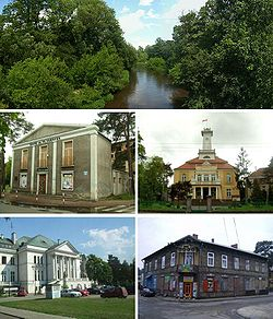 Top:Swider River, view between Otwock and Józefów, Middle left: Stefan Jaracz Theater, Middle right: Otwock City Hall, Bottom left: K. I. Gałczyński's College (Liceum im. K. I. Gałczyńskiego), Bottom right:Museum of Calel Perechodnik