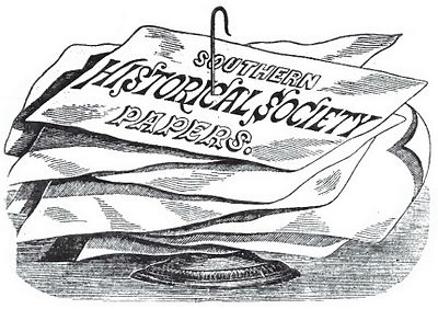"Illustration of papers on a letter spike, the topmost bearing the text ""Southern Historical Society Papers"""
