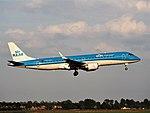 PH-EZK KLM Cityhopper Embraer ERJ-190STD (ERJ-190-100) landing at Schiphol (EHAM-AMS) runway 18R.JPG
