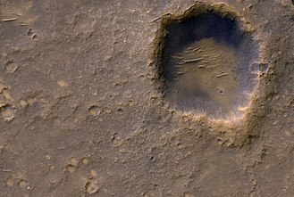 Mars - Bonneville crater and Spirit rover's lander
