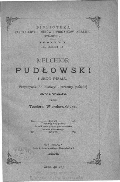 File:PL Melchior Pudłowski i jego pisma.djvu