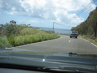 Puerto Rico Highway 3 - PR-3 as a rural road in Patillas, several hundred feet above the sea
