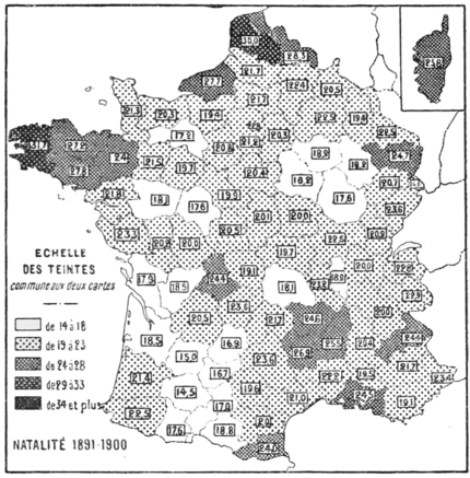 PSM V79 D621 French birth and death rates at the beginning and end of 19th century.png