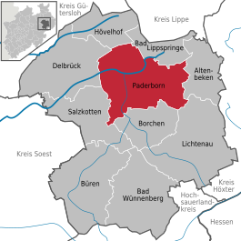 Location of the city of Paderborn within the district