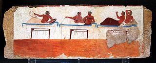 Paroi sud de la fresque de la Tombe du plongeur