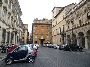 Palazzo Muti - Palazzo Muti (ochre-coloured building) with (right) the arcaded Basilica dei Santi Apostoli where the Stuarts regularly worshipped