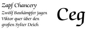 ITC Zapf Chancery - Image: Pangramm de Zapf Chancery
