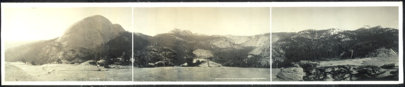 Panorama of Little Yosemite from Liberty Cap: Half Dome, Moraine Dome, Sugar Loaf Dome, Bunnell Point, Cascade Cliffs and Mount Starr King.