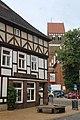 Parchim, Haus Lange Straße 75, Blick zur Marienkirche.jpg