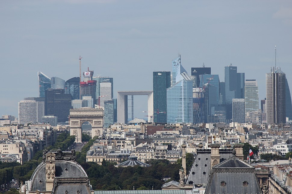Skyscrapers of La Défense seen from the Saint-Jacques Tower in central Paris