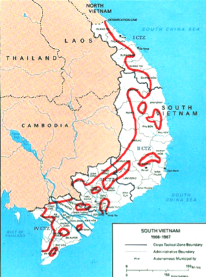 Paris Peace Accords - The approximate areas of control at the time of the signing of the Accord.  The South Vietnamese government controlled about 80 percent of the territory and 90 percent of the population, although many areas were contested.