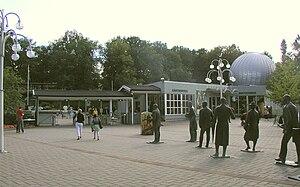Parken Zoo - Main entrance with sculptures of famous actors.