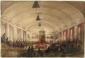 Burning of the Parliament Buildings in Montreal - James Duncan, The House of Assembly, in the Parliament of Montreal, around 1848.