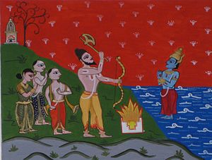 History of Kerala - Parasurama, surrounded by settlers, commanding Varuna to part the seas and reveal Kerala.