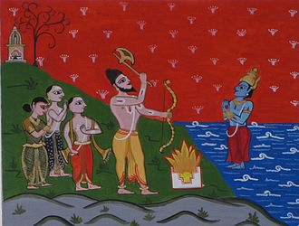 Kerala - Parasurama, surrounded by settlers, commanding Varuna (the Hindu God of water) to part the seas and reveal Kerala