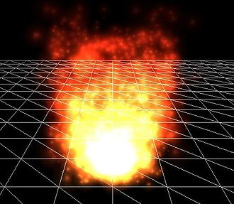 Particle system - A particle system used to simulate a fire, created in 3dengfx.