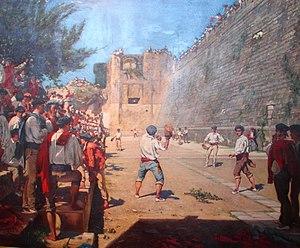 Gustave-Henri Colin - Partie de pelote sous les remparts de Fontarabie (Hondarribia), 1863.