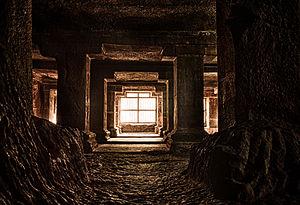 Pataleshwar - Pataleshwar Caves Internal Temple Columns HDR