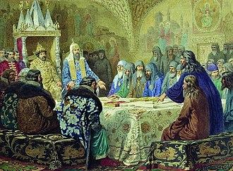 Patriarch Nikon of Moscow - Aleksey Kivshenko. Patriarch Nikon and Epifany Slavinetsky revising service-books.