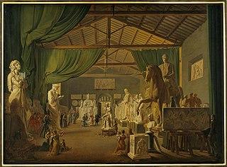 Pave Leo Xll aflægger besøg i Thorvaldsens værksteder ved Piazza Barberini, 18. oktober 1826