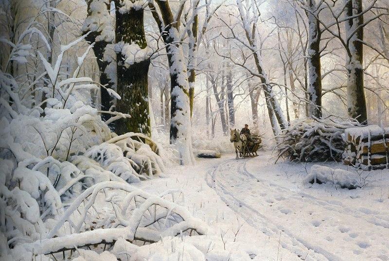 File:Peder Mørk Mønsted - Wood in snow.jpg