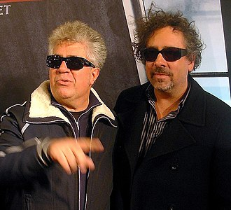 Tim Burton - Tim Burton (right) and Pedro Almodóvar (left) at the première of Sweeney Todd: The Demon Barber of Fleet Street in Madrid, in 2007
