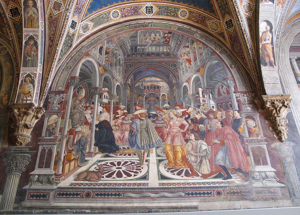 Pellegrinaio di santa maria della scala 04, domenico di bartolo celestino III concede privilegi di autonomia all'ospedale