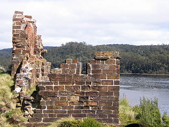 Convicts on the West Coast of Tasmania - The remains of the stone penitentiary building on Sarah Island at the Macquarie Harbour Penal Station
