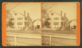 People in front of a large house with fence, by D. T. Reed.png