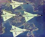 Perrin Air Force Base - Flight of four F-102 Delta Daggers over Lake Texarcana.jpg