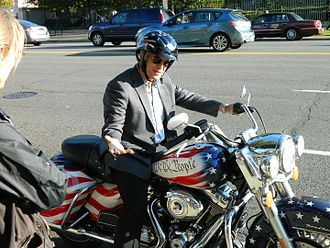 "Peter Sagal - Sagal on his ""We The People"" Harley Davidson motorcycle at the National Archives during filming for Constitution USA with Peter Sagal"