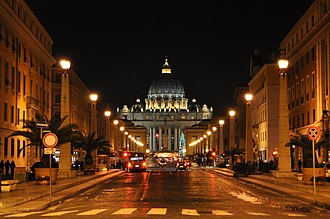 St. Peter's Basilica - St. Peter's Basilica at night from Via della Conciliazione in Rome.