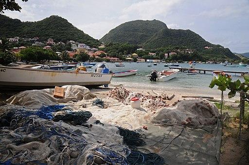Petite Anse fishing nets repair - Terre-de-Haut, Iles des Saintes, near Guadeloupe - panoramio