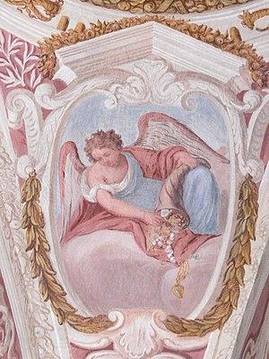 Cornucopia - Image: Pfarrkirchen Deckenfresco Lauretanische Litanei Engel mit Füllhorn