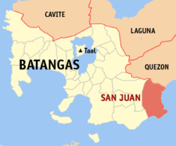 Map of Batangas showing the location of San Juan
