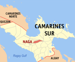 Map of Camarines Sur showing the location of Naga City