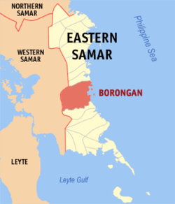 Map of Samar showing the location of Borongan City