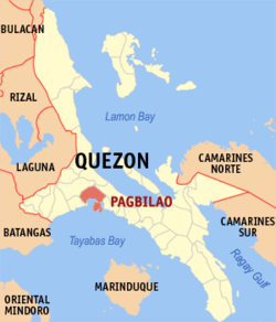 Map of Quezon showing the location of Pagbilao