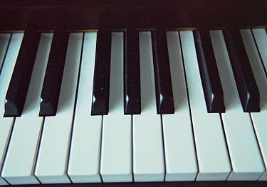 The modern keyboard is designed for playing a diatonic scale on the white keys and a pentatonic scale on the black keys. Chromatic scales involve both. Three immediately adjacent keys produce a basic chromatic tone cluster. Piano-keyboard.jpg