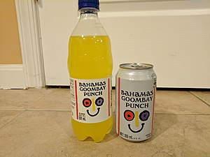 Goombay Punch - Picture of a 20 fl oz Bottle of Bahamas Goombay Punch and a 12 fl oz can of Bahamas Goombay Punch.