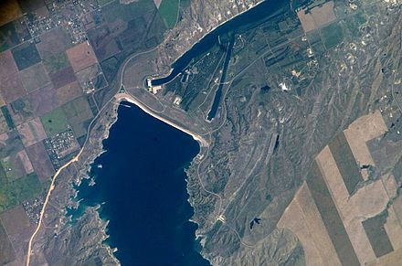 Photograph of the Oahe Dam, several miles north of Pierre, taken from the International Space Station (ISS)