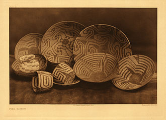 Pima people - Fine Pima baskets, photographed around 1907 by Edward S. Curtis