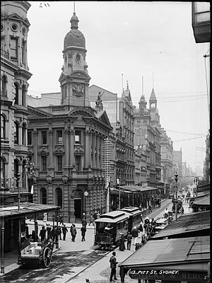 Pitt Street - Pitt Street circa 1900. The clock tower on the building to the left has since been removed.