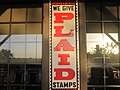 Plaid Stamp sign at Cracker Barrel, Lubbock, TX IMG 4691.JPG